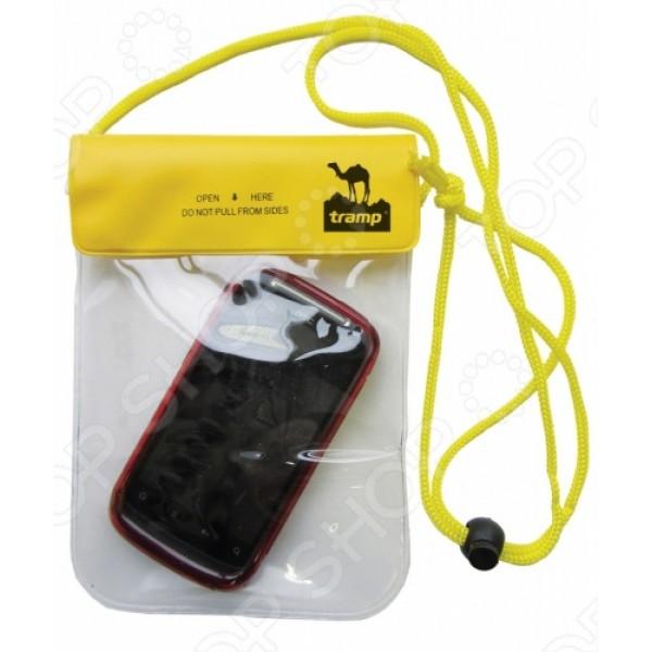 Гермопакет Tramp TRA-026 для мобильного телефонаГерметичный пакет для мобильного телефона Tramp TRA-026 незаменим в походах, экспедициях, сплавах. В герметичный мешок можно сложить не только телефон, но и документы и любые другие ценные вещи. Размер мешка 20х13 см. Всегда можно повесить его на шею с помощью удобного шнурка.<br>