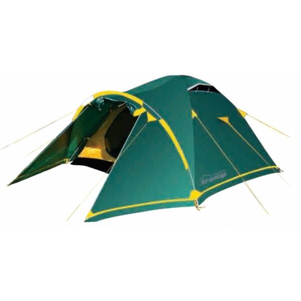 """Палатка Tramp Stalker 2 трекинговаяПалатка Tramp STALKER 2 отличается от других палаток серии крепкими алюминиевыми дугами и наличием ветрозащитной юбки. Один из двух тамбуров на дополнительной дуге, с двумя молниями, довольно вместительный. В тамбуре туристической палатки Tramp Stalker 2 можно разместить рюкзаки, обувь и пользоваться горелкой во время непогоды. Легкая сборка, благодаря системе клипс: внутренняя палатка крепится к дугам, над тамбуром в тент продевается дополнительная дуга, затем при помощи люверсов и колышков натягивается тент. Возможна установка без растяжек.<br><br>Конструкция - обтекаемая """"полусфера"""", легкая в установке на любой местности и неприхотливая в эксплуатации. Устойчивая, за счет дополнительной внешней дуги тамбура. Два входа с двумя тамбурами. С комфортом вмещает два человека, но, при необходимости, можно разместить троих.<br><br>Тент – водонепроницаемый, устойчивый к растяжению, с двумя складными вентиляционными окнами. Обработан составом для поглощения UF лучей и пропиткой, предотвращающей распространение огня. Оборудован растяжками с вплетением светоотражающей нити и проклеенными швами.<br><br>Внутренняя палатка – 100% дышащий полиэстер, два больших вентиляционных окна. Из приятных мелочей - удобные, вместительные карманы, подвесная полка под потолком и крепление для фонарика. Входы D-образные, на качественных двухзамковых молниях с возможностью открывания в одно касание даже с занятыми руками. Оба входа продублированы москитной сеткой.<br><br>Дно – полиэстер с высоким показателем водонепроницаемости, загибается по краям вверх для большей влагоустойчивости.<br><br>Каркас – прочный алюминиевый. Несложная конструкция из двух перекрещивающихся дуг, с дополнительной дугой для тамбура.<br><br>Комплект – тент, внутренняя палатка, подвесная полка, комплект дуг, комплект колышков, сумка-переноска с ручками, ремнабор.<br><br>Вес кг: 3.50000000"""