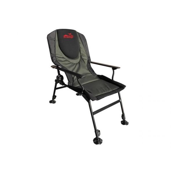 Кресло Tramp TRF-031 ChairmanСкладное кресло удобно для отдыха, легко складывается и занимает минимум места при транспортировке. Регулируемый наклон спинки. Регулируемые по высоте ножки увеличенной площади.. Спинка покрыта неопреном. Стальные подлокотники.<br>