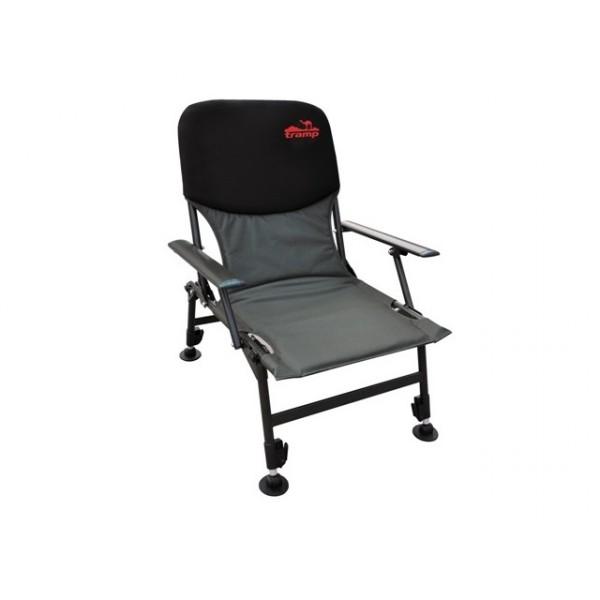 Кресло Tramp TRF-032 FishermanСкладное кресло удобно для отдыха, легко складывается и занимает минимум места при транспортировке.<br>Спинка покрыта неопреном. Регулируемые ножки. Стальные подлокотники. Ножки увеличенной площади.<br>