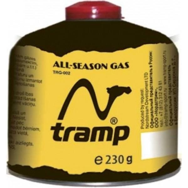 Газовый картридж Tramp TRG-003, резьба 230грСнабжен самоуплотнением, предохранительными клапанами и винтовой резьбой, соответствующей международным сертификатам. Смесь морозоустойчива.<br><br>Вес кг: 0.30000000