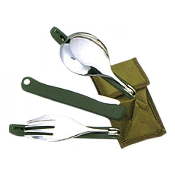 Набор столовых приборов Tramp TRC-049 складнойКлассический набор столовых приборов - компактные, прочные. Упакованы в небольшой тканевый чехол - можно носить в кармане и сложно потерять<br>