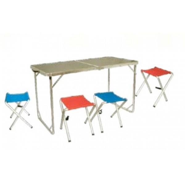 Набор мебели Tramp TRF-035В комплект мебели входит складной стол и четыре табурета с сиденьями из полиэстера. Стол увеличенного размера идеально подходит для комфортного застолья. Оптимальный размер столешницы и дополнительные крепления с обратной стороны увеличивают прочность стола. Комплект собирается внутрь стола-кейса. Табуретки укладываются в стол. Высота стола регулируется в трех положениях 55, 60 или 70 см. Имеет дополнительный чехол для транспортировки, что позволит избежать появления лишних царапин и дольше сохранит приглядный вид мебели.<br>