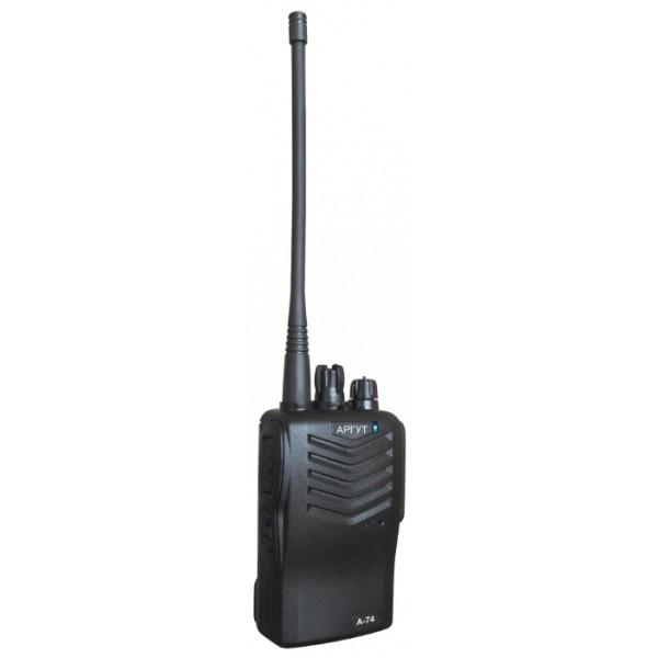 Аргут А-74 портативнаярация UHF, питание Li-Ion-аккумулятор, вес 400 г, количество каналов 16, кодирование CTCSS, DCS, DTMF, подключение гарнитуры<br><br>Вес кг: 0.50000000