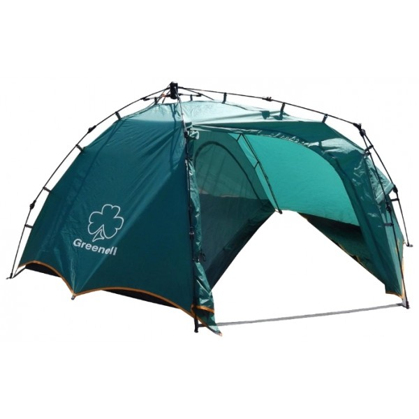 Палатка Greenell Огрис 2 трекинговаяУдобная двухместная полуавтоматическая палатка Greenell Огрис 2 с большим тамбуром. Специальная конструкция тамбура, позволяет разместить в нем рюкзаки, обувь. Максимальная вентиляция обеспечивается за счет внутренней палатки, которая полностью выполнена из москитной сетки, специального кроя тента и вентиляционных каналов в тенте палатки. Внутри достаточно комфортно находится, есть карманы для мелочей, подвесная полка, кроме того все швы проклеены, и это только усиливают конструкцию.<br><br>Вес кг: 4.40000000