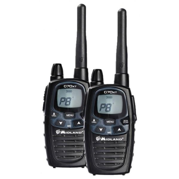 Радиостанция Midland G70XT LPD+PMRрация LPD/PMR, 2 рации в комплекте, мощность передатчика 0.5 Вт, радиус действия 12 км, вес 123 г, количество каналов 77, кодирование CTCSS, DCS, подключение гарнитуры<br><br>Вес кг: 0.20000000