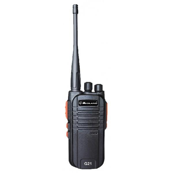 Радиостанция Midland G21рация PMR, мощность передатчика 0.5 Вт, питание Li-Ion-аккумулятор, вес 192 г, количество каналов 16, кодирование CTCSS, DCS, подключение гарнитуры<br><br>Вес кг: 0.25000000