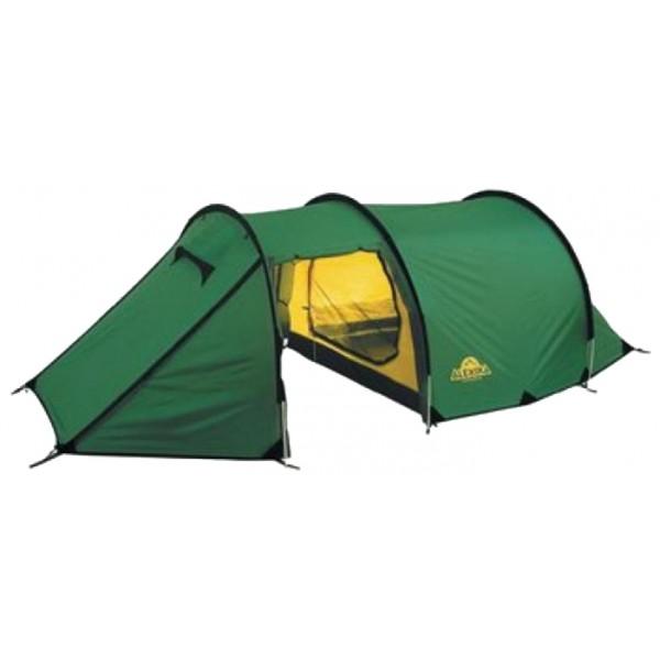 Палатка Alexika Tunnel 3Трехместная туристическая палатка-полубочка Tunnel 3 сделает отдых на природе легким и приятным. Конструкция палатки, состоящей из большой внутренней комнаты и огромного тамбура, свободно вмещающего велосипеды, походную кухню и массивные рюкзаки, позволяет чувствовать себя комфортно. Материал внешнего тента и пола отлично защищает от влаги и ветра, а проклеенные швы не допускают проникновения внутрь палатки капель воды. Дно усилено стропой, придающей дополнительную прочность. Молнии тента застегиваются на алюминиевые защитные крючки .<br><br>Палатка имеет эффективную систему вентиляции, состоящую из двух регулируемых окон с антимоскитной сеткой и ветровым клапаном. а три входа обеспечивают хороший приток воздуха в летний зной. Необходимые под рукой мелкие предметы можно с удобством разместить в четырех карманах внутри спальни.<br><br>Палатка легко устанавливается, Причем сначала ставится внешний тент, а потом под него подвешивается спальня. Удобство такой конструкции легко оценить при установке или демонтаже палатки под дождем, когда намокает только внешний тент, а спальня и вещи остаются сухими. Точки крепления спальни промаркированы цветом для удобства сборки. Двухточечные оттяжки и специальные стропы с фастексом позволяют равномерно натянуть тент и обеспечивают хорошую ветроустойчивость. Молнии тента снаружи защищены по всей длине от дождя специальными клапанами. Клапаны вшиты отдельным проклеенным швом и фиксируются липучкой. Без установленной спальни большое внутреннее пространство палатки можно использовать под склад или кают-компанию.<br><br>Спальня палатки выполнена из легкого дышащего материала, имеет на входе антимоскитную сетку и полог, вентиляционное окно и кармашки для разных мелочей. Антимоскитная сетка и полог застегиваются отдельными молниями разного цвета. Спальня расчитана на трех человек, но при необходимости, например переждать непогоду, в ней с достаточным комфортом могут разместиться четверо.<br><br>Вес кг: 4.70000000