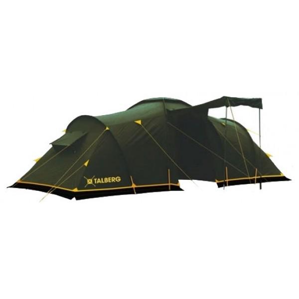 Палатка Talberg Base 9 кемпинговаякемпинговая палатка, 9-местная, внешний каркас, дуги из стеклопластика, один вход / 3 комнаты, высокая водостойкость, вес: 15 кг, навес над входом<br><br>Вес кг: 15.10000000
