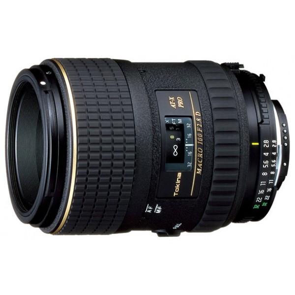 Объектив Tokina AT-X M100 AF PRO D Nikon Fмакрообъектив с постоянным ФР, крепление Nikon F, без встроенного мотора, 100 мм, F2.80, автоматическая фокусировка, размеры (DхL): 73x95.1 мм, вес: 540 г<br><br>Вес кг: 0.60000000