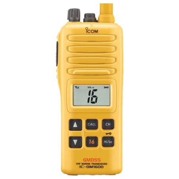 Радиостанция Icom IC-GM1600Е морская GMDSSIcom IC-GM1600E — портативная морская рация, сертифицированная Российским речным регистром и Российским морским регистром судоходства. Модель соответствует самым строгим требованиям, предъявляемым к радиооборудованию, которое предназначено для использования на спасательных лодках и судах.<br><br>Радиостанция Icom IC-GM1600E разработана для использования на судах морского плавания во время проведения аварийно-спасательных работ в соответствиями с требованиями Глобальной морской системы связи при бедствии (ГМССБ, GMDSS). Прочный водонепроницаемый корпус, соответствующий стандарту IPX7, надежно защищает радиостанцию от воды и повреждений: устройство предназначено для использования в экстремальных условиях во время чрезвычайных ситуаций, которые могут возникнуть на море.<br><br>Icom IC-GM1600E оснащена большим жидкокристаллическим дисплеем с широким углом обзора. Характеристики экрана обеспечивают чистое отображение необходимой для работы с рацией информации. Четырёхуровневые настройки контраста и трёхуровневые настройки подсветки позволят использовать устройство и днем, и ночью.<br><br>Радиостанция поддерживает возможность подключения гарнитуры во время использования на борту.<br><br>Вес кг: 0.50000000