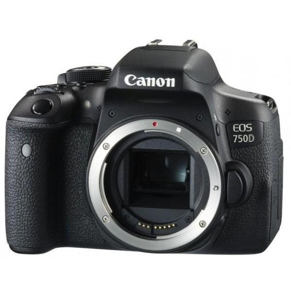 Зеркальный фотоаппарат Canon EOS 750D Bodyлюбительская зеркальная фотокамера, байонет Canon EF, без объектива в комплекте, матрица 24.7 МП (APS-C), съемка видео Full HD, поворотный сенсорный экран 3, Wi-Fi, вес камеры 555 г<br><br>Вес кг: 0.60000000