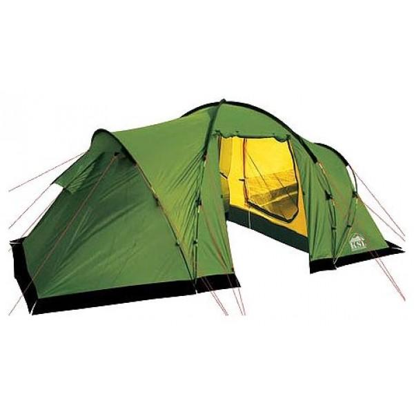 Палатка KSL Macon 4 (зеленая)кемпинговая палатка, 4-местная, внешний каркас, стальные дуги, 2 входа / 2 комнаты, высокая водостойкость дна, вес: 11 кг<br><br>Вес кг: 11.10000000
