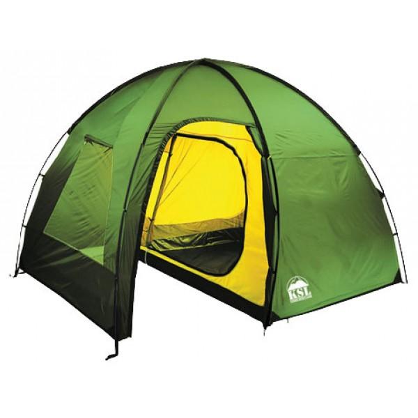 Палатка KSL Rover 4 (зеленая)кемпинговая палатка, 4-местная, внешний каркас, дуги из стеклопластика, 2 входа / одна комната, высокая водостойкость дна, вес: 9.7 кг<br><br>Вес кг: 9.70000000