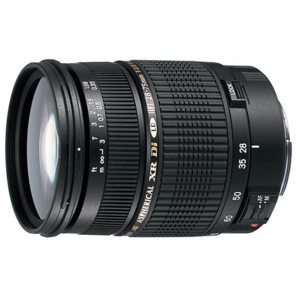 Объектив Tamron SP AF 28-75mm F/2.8 XR Di LD Aspherical (IF) Canon EFГарантия 5 лет от Tamron. <br>стандартный Zoom-объектив, крепление Canon EF и EF-S, автоматическая фокусировка, минимальное расстояние фокусировки 0.33 м, размеры (DхL): 73x92 мм, вес: 510 г<br>