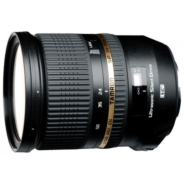 Объектив Tamron SP 24-70мм F/2.8 Di (со стабилизатором)  USD для NikonГарантия 5 лет от Tamron. стандартный Zoom-объектив, крепление Nikon F, без встроенного мотора, встроенный стабилизатор изображения, автоматическая фокусировка, минимальное расстояние фокусировки 0.38 м, размеры (DхL): 88.2x108.5 мм, вес: 825 г<br><br>Вес кг: 0.90000000