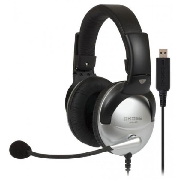 Наушники Koss SB-45 USBкомпьютерная гарнитура, с мониторными наушниками, крепление при помощи оголовья, микрофон с шумоподавлением, подключение: USB, частота воспроизведения 18-20000 Гц<br>