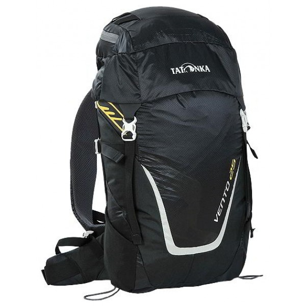 Рюкзак Tatonka Vento 25 blackУниверсальный спортивный рюкзак с новой системой подвески X Vent Zero. Благодаря крестообразно расположенному каркасу из стекловолокна и минимальному контакту со спиной система объединяет оптимальный контроль нагрузки с исключительной вентиляцией и минимальным весом. При весе всего 960 г. рукзак обладает вместительным внутренним отделением и хорошим оснащением.<br><br><br>Подвеска X Vent Zero.<br><br>Верхнее отделение с держателем для ключей и дождевым чехлом.<br><br>Эргономичные лямки с эластичным нагрудным ремнем.<br><br>Эластичные боковые карманы.<br><br>Держатели походных палок.<br><br>Боковые стяжки.<br><br>Ручка для переноски.<br><br>Вес кг: 1.00000000