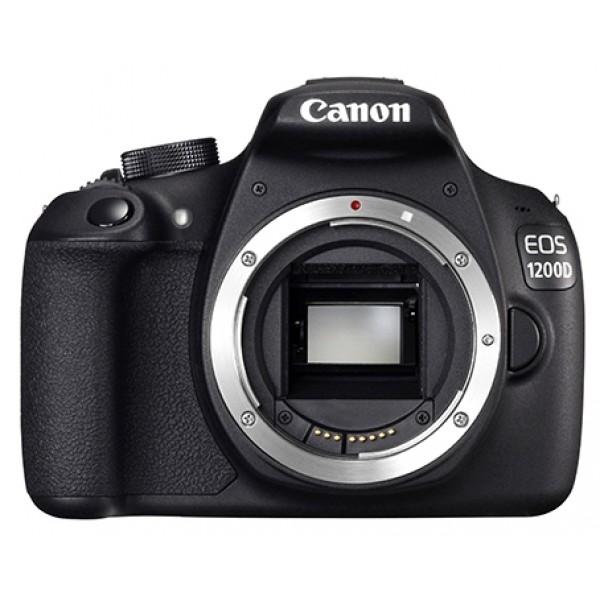 Фотоаппарат Canon EOS 1200D Body Зеркальныйлюбительская зеркальная фотокамера, поддержка сменных объективов с байонетом Canon EF/EF-S, без объектива в комплекте, матрица 18.7 мегапикселов (22.3 х 14.9 мм), съемка видео разрешением до 1920x1080, экран 3, вес камеры 480 г.<br><br>Вес кг: 0.60000000