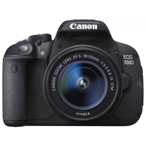 Зеркальный фотоаппарат Canon EOS 700D Kit EF-S 18-55mm f/3.5-5.6 III DCлюбительская зеркальная фотокамера, байонет Canon EF/EF-S, объектив в комплекте, матрица 18.5 МП (APS-C), съемка видео Full HD, поворотный сенсорный экран 3, вес камеры без объектива 580 г<br><br>Вес кг: 0.60000000
