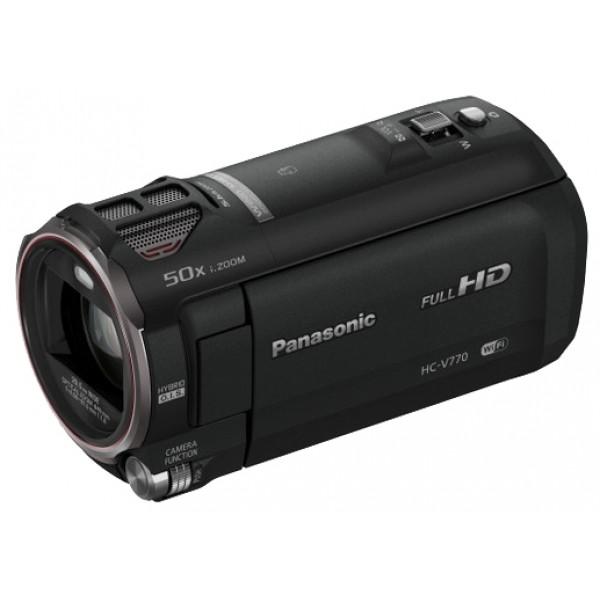 Видеокамера Panasonic HC-V770видеокамера с 20x зумом, запись видео Full HD 1080p на карты памяти, матрица 12.76 МП (1/2.3), карты памяти SD, SDHC, SDXC, Wi-Fi, стабилизатор изображения, вес: 353 г<br><br>Вес кг: 0.40000000