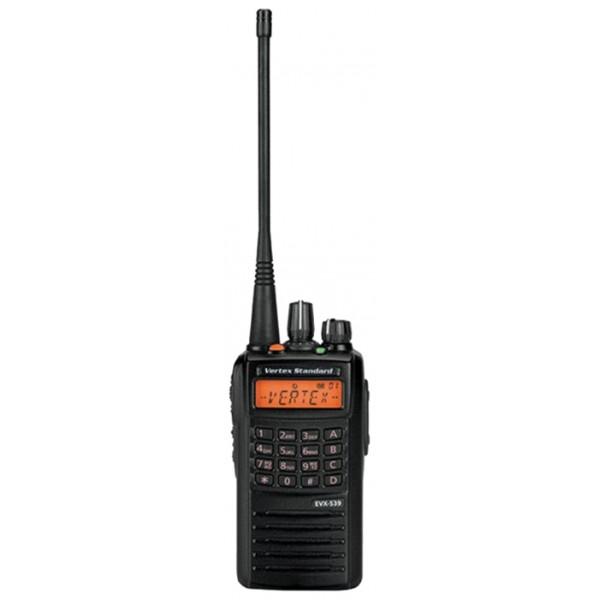 Радиостанция Vertex EVX-539 (136-174/403-407/450-520Mhz) (LI-ION 1380 mAH)рация VHF/UHF, мощность передатчика 5 Вт, питание Li-Ion-аккумулятор, количество каналов 32, кодирование CTCSS, DCS, DTMF, подключение гарнитуры<br>
