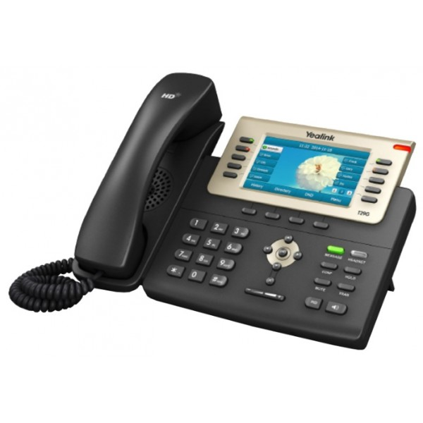 IP-телефон Yealink SIP-T29GIP-телефон Yealink SIP-T29G является наиболее продвинутой моделью линейки Yealink T2x. Аппарат оснащен цветным TFT-дисплеем высокого разрешения, обеспечивающим удобную визуализацию; технология Yealink Optima HD позволяет передавать звук голоса собеседника особенно четко и реалистично; для подключенного через телефон компьютера передача данных осуществляется по стандарту Gigabit Ethernet. Новое для линейки Т2х расположение программируемых кнопок позволяет подписывать их значения непосредственно на экране телефона, избавляя пользователей от бумажек на корпусе аппарата, которые необходимо заполнять вручную. Переключение этих значений достигается сменой страниц экранного меню. Помимо всего, телефон обладает возможностью подключения модулей расширения программируемых кнопок, беспроводных гарнитур через электронный микролифт EHS36 или Bluetooth-гарнитур через USB-адаптер BT40.<br>