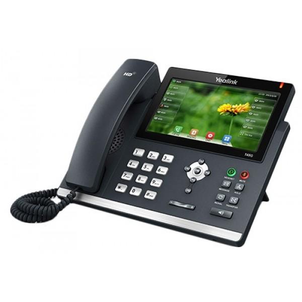 IP-телефон Yealink SIP-T48GYealink SIP-T48G - это корпоративный телефон нового поколения, отличающийся ультра- элегантным бизнес-дизайном и продвинутыми техническими характеристиками. Сенсорный цветной LCD-экран с диагональю 7 дюймов помогает сделать работу с телефоном приятной и удобной. Также возможно подключение беспроводной гарнитуры с помощью USB-адаптера Yealink BT40. Значения 29-ти программируемых кнопок подписываются непосредственно на экране телефона, избавляя пользователей от бумажных носителей на корпусе телефона и необходимости заполнять их вручную. Телефон идеально подходит для руководителей высшего звена, сотрудников, заботящихся о своем статусе, и просто бизнесменам, выбирающим и качество, и стиль.<br>