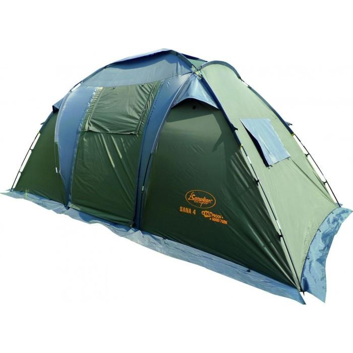 Палатка Canadian Camper SANA 4 Forest кемпинговаякемпинговая палатка, 4-местная, внешний каркас, дуги из стеклопластика, 2 входа / 2 комнаты, высокая водостойкость, вес: 10.2 кг<br>