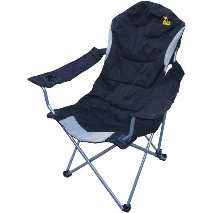 Кресло Tramp TRF-012 с регулируемым наклоном спинкиКомфортабельное кресло с подлокотниками. Спинка кресла имеет 3-х позиционный механизм регулировки. Каркас выполнен из прочной стальной трубки. В ручке кресла есть подстаканник. Кресло упаковано в матерчатый чехол.<br><br>Вес кг: 4.00000000