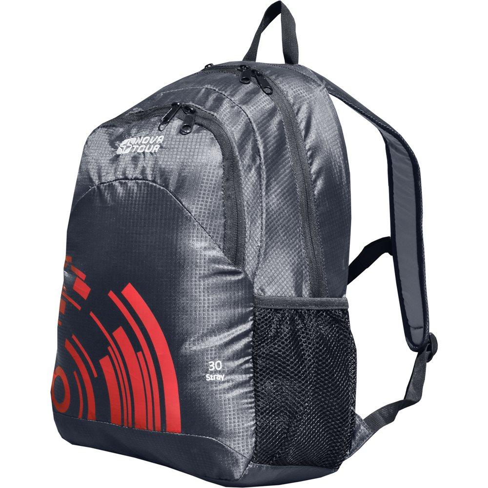 Рюкзак Nova Tour Стрэй 30 СерыйОблегченный городской рюкзак с органайзером, карабином для ключей и боковыми карманами из сетки.<br><br>Вес кг: 0.80000000