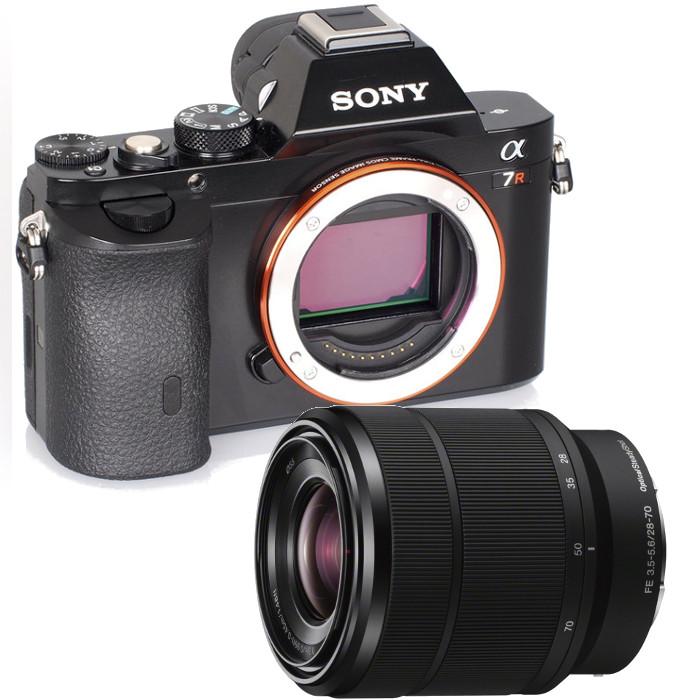 Фотоаппарат Sony Alpha ILCE-7R Kit 28-70mm со сменной оптикойфотокамера с поддержкой сменных объективов, байонет Sony E, объектив в комплекте, матрица 36.8 МП (Full frame), съемка видео Full HD, поворотный экран 3, Wi-Fi<br><br>Вес кг: 0.50000000