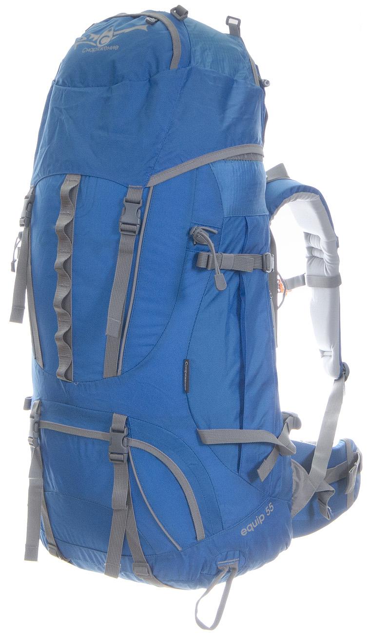 Рюкзак Снаряжение Equip 55Equip- рюкзак, отвечающий всем требованиям современного путешественника.<br><br><br>Каркас с анатомическим профилированием (две латы из алюминиевого сплава);<br><br>Несъемный грузовой пояс;<br><br>Две пары боковых стяжек;<br><br>«Вспухающие» боковые карманы;<br><br>Возможность крепления дополнительного груза на боковинах рюкзака, под дном и на клапане;<br><br>Клапан с тремя карманами;<br><br>Карман для штормового чехла.<br><br>Штормовой чехол в комплекте!<br><br>Вес кг: 1.90000000
