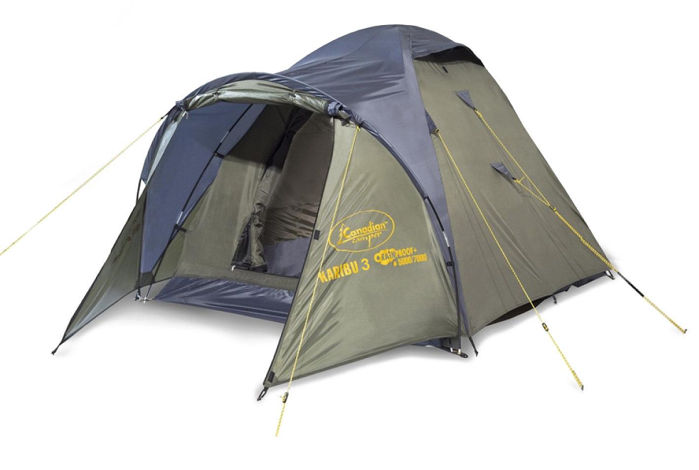 """Палатка Canadian Camper KARIBU 3 Forest трекинговаяKARIBU - """"классика"""" туристических палаток.<br><br>Благодаря третьей дуге палатка имеет увеличенный тамбур. Два входа и большие вентиляционные отверстия обеспечат комфорт даже в летний зной, а противомоскитные сетки защитят Вас от назойливых насекомых.<br><br>Вес кг: 4.30000000"""