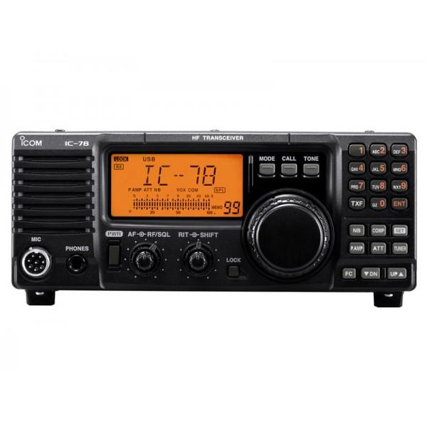 Трансивер Icom IC-78 РРРПВ КВ радиостанция Icom IC-78 одобрена Российским Речным Регистром подходит для района А2. Данная модель работает на прием в диапазоне 0.03-30.0 МГц, а на передачу в 1.6-60 МГц, имеет банк памяти на 99 каналов, мощность передатчика составляет от 2 до 40 Вт в амплитудной модуляции (AM) и от 2 до 100 Вт в SSB/CW.<br><br>Трансивер Icom IC-78 поддерживает различные виды модуляции (USB, LSB, CW, RTTY, AM), имеет встроенный КСВ-метр, голосовую активацию передачи VOX, возможность установки дополнительного фильтра, использования антенных тюнеров и многое другое.<br><br>На лицевой панели Icom IC-78 расположен дисплей и различные кнопки и ручки управления, благодаря полноразмерной клавиатуре вы можете быстро ввести номинал частот, все кнопки при этом имеют только одну функцию и существует возможность их блокировки.<br><br>Вес кг: 4.00000000