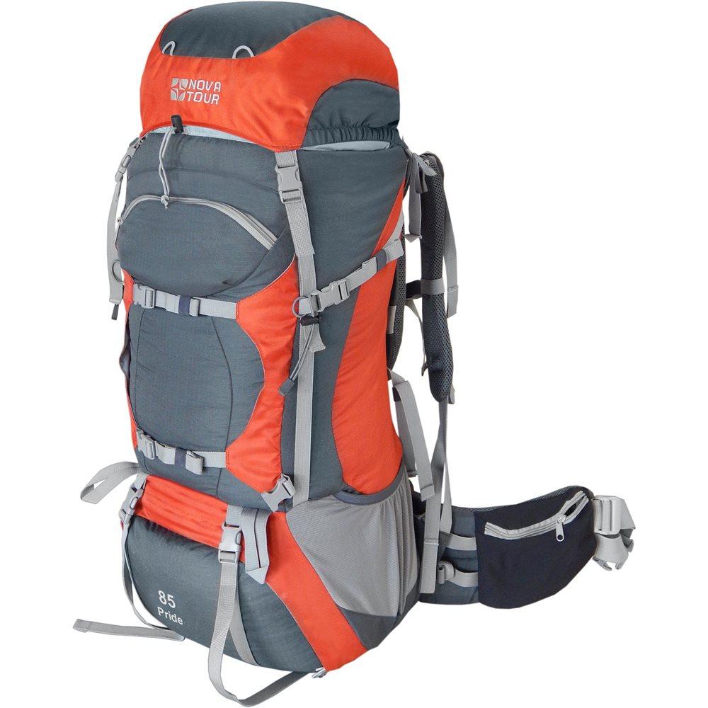 """Рюкзак Nova Tour Прайд 85 серый/терракотовыйРюкзак для походов с облегченной подвесной системой ABS2. Вес равномерно распределяется на плечи и пояс, уменьшает нагрузку на позвоночник. Система навески разработана для большего удобства крепления горного снаряжения. Удобный нижний вход позволяет достать вещи со дна рюкзака. Гермочехол, расположенный в специальном кармане в дне рюкзака поможет сохранить ваши вещи сухими в дождь и снег.<br><br><br>Подвесная система ABSv2 Вес равномерно распределяется на плечи и пояс, уменьшая нагрузку на позвоночник.<br><br>Два отделения с двумя входами дадут быстрый доступ ко всему содержимому рюкзака<br><br>Прочная износостойкая ткань с технологией Ripstop. Даже если поставить дырку кошками или острым камнем, ткань не будет рваться дальше за счет технологии Ripstop<br><br>Фронтальный узел крепления доп.оборудования (например снегоступов)<br><br>Карманы на поясе из эластичной ткани. Удобные!<br><br>Боковой карман из эластичной сетки<br><br>Крепеж горного оборудования<br><br>Регулировка пояса """"подвижным блоком"""" Затянуть пояс проще простого<br><br>Объем основного отделения: 74л.<br><br>Объем всех дополнительных караманов: 10л.<br><br>Общий объем: 84 л.<br><br>Вес кг: 2.50000000"""