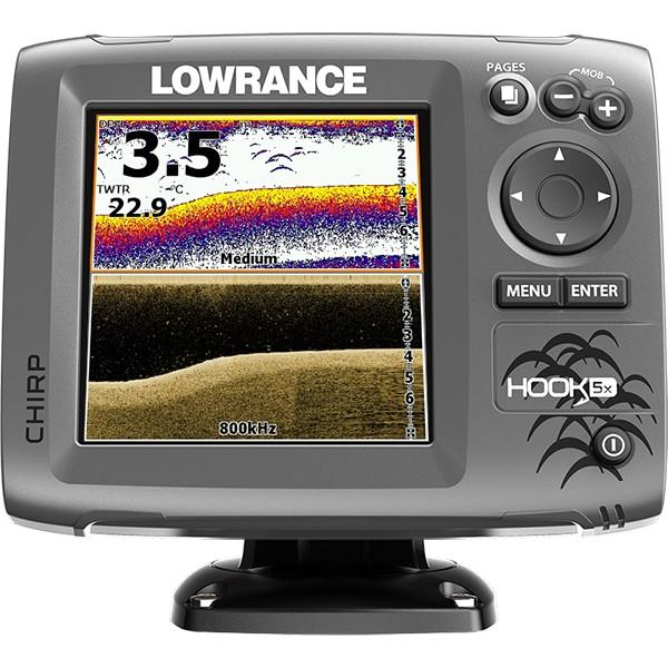 Эхолот Lowrance Hook-5x Mid/High/DownScanLowrance HOOK-5x эхолот, с проверенными функциями по отличной цене, без компромисса для качества рыбалки, ожидаемого от Lowrance. Выгодная комбинация технологий CHIRP Sonar и DownScan Imaging™ в эхолоте HOOK-5x, дает вам возможность более ясно и более полно оценить картину подводного пространства под вашей лодкой. Выведение изображения на четкий пятидюймовый цветной экран в сочетании с высокой производительностью сонара повышенной чувствительности, превосходное разделение целей и улучшение подавления шумов, делает простым обнаружение мест скопления и прикормки рыбы.<br><br><br>Четкий, пятидюймовый цветной экран, с высоким разрешением, изготовленный по эксклюзивной технологии Lowrance.<br><br>Комбинация CHIRP Sonar и DownScan Imaging™ - сила сегодняшних передовых технологий эхолота, обеспечивает наилучший обзор под вашей лодкой.<br><br>DownScan Overlay™ технология наложения DownScan изображений на CHIRP Sonar<br><br>Advanced Signal Processing (ASP), уменьшает необходимость ручных настроек параметров для более четкого отображения рыбы, мест ее скопления, структуры и рельефа дна.<br><br>Функция TrackBack™ дает возможность просмотра записей в истории сонара.<br><br>Возможность сканирования одним датчиком в нескольких диапазонах, по технологии CHIRP.<br><br>Более высокая производительность сонара CHIRP с большим количеством доступных датчиков, в том числе Lowrance HDI Skimmer®.<br><br>Просмотр многочисленных настроек сонара CHIRP на экране.<br><br>Удобное меню выбора страницы, быстрый доступ ко всем функциям с помощью нажатия одним прикосновением.<br><br>Функция открытия нескольких окон на экране позволяет вам быстро выбирать из заранее заданных макетов страниц - в том числе вид на три панели.<br>