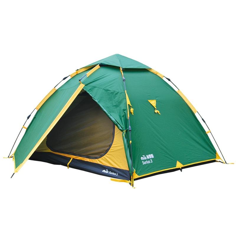 """Палатка Tramp Sirius 3 быстросборнаяУстановка палатки занимает 90 секунд. В тамбуре туристической палатки Tramp Sirius 3 можно разместить рюкзаки, обувь и пользоваться горелкой во время непогоды. Возможна установка без растяжек. Конструкция - обтекаемая устойчивая """"полусфера"""" быстрой сборки. Два входа с двумя тамбурами. С комфортом вмещает три человека.<br><br>Тент – водонепроницаемый, устойчивый к растяжению, с двумя складными вентиляционными окнами. Обработан составом для поглощения UF лучей и пропиткой, предотвращающей распространение огня. Оборудован растяжками с вплетением светоотражающей нити и проклеенными швами.<br><br>Внутренняя палатка – 100% дышащий полиэстер, два больших вентиляционных окна, удобные, вместительные карманы, подвесной карман-полка под потолком с креплением для фонарика. Вход D-образный, на качественных двухзамковых молниях с возможностью открывания в одно касание даже с занятыми руками. Продублирован москитной сеткой.<br><br>Дно – износоустойчивый терпаулинг, загнутый по краям вверх для большей влагоустойчивости.<br><br>Каркас – наружный, система моментальной сборки flash touch, материал - фибергласс<br><br>Комплект – тент, внутренняя палатка, комплект дуг, комплект колышков, сумка-переноска с ручками, ремнабор.<br><br>Вес кг: 5.50000000"""