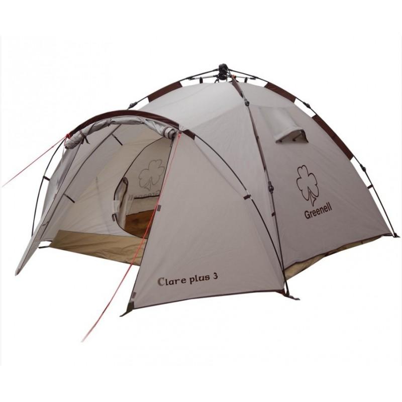 Палатка Greenell Клер плюс 3Двухслойная дуговая палатка с полуавтоматическим каркасом Greenell Клер плюс 3. Два входа и один увеличенный тамбур. Внутренная палатка и тент устанавливаются одновременно. Легко установить палатку одному человеку. Минимум времени для установки и сборки. Q-образный вход продублирован сеткой. Улучшенная сквозная вентиляция.<br><br>Вес кг: 5.10000000