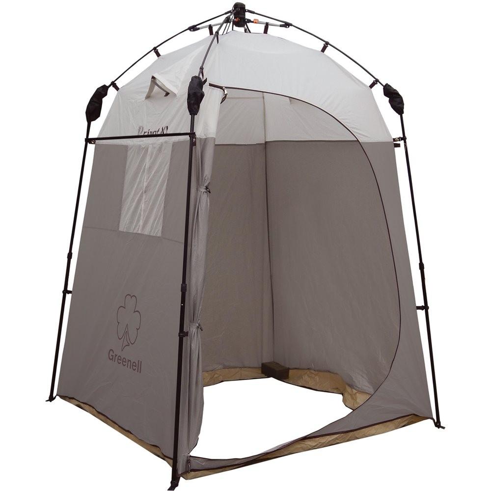 Палатка-тент Greenell Приват XL для душа/туалетаТент Greenell Приват XL с полуавтоматическим каркасом и телескопическами дугами. Не требует большой площади для установки. Можно использоваться как полноценный душ, туалет и место для хранения. Есть окошко с сеткой. Предусмотрено крепление для переносного душа. Имеется один вход и перекладина для полотенца.<br><br>Вес кг: 5.20000000