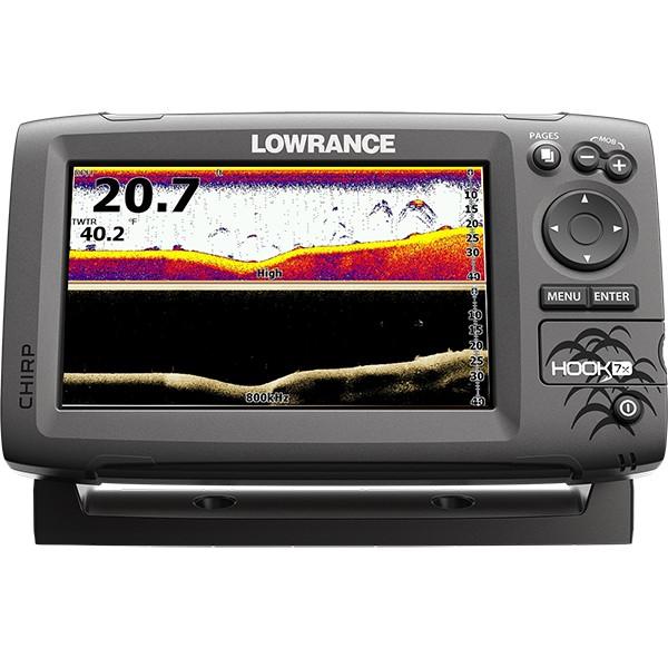 Эхолот Lowrance Hook-7x Mid/High/DownScanLowrance HOOK-7x - эхолот, с проверенными функциями по отличной цене, без компромисса для качества рыбалки, ожидаемого от Lowrance. Выгодная комбинация технологий CHIRP Sonar и DownScan Imaging™ в эхолоте HOOK-7x, дает вам возможность более ясно и более полно оценить картину подводного пространства под вашей лодкой. Выведение изображения на четкий семидюймовый цветной экран в сочетании с высокой производительностью сонара повышенной чувствительности, превосходное разделение целей и улучшение подавления шумов, делает простым обнаружение мест скопления и прикормки рыбы.<br><br><br>Четкий, семидюймовый цветной экран, с высоким разрешением, изготовленный по эксклюзивной технологии Lowrance.<br><br>Комбинация CHIRP Sonar и DownScan Imaging™ - сила сегодняшних передовых технологий эхолота, обеспечивает наилучший обзор под вашей лодкой.<br><br>DownScan Overlay™ технология наложения DownScan изображений на CHIRP Sonar<br><br>Advanced Signal Processing (ASP), уменьшает необходимость ручных настроек параметров для более четкого отображения рыбы, мест ее скопления, структуры и рельефа дна.<br><br>Функция TrackBack™ дает возможность просмотра записей в истории сонара.<br><br>Возможность сканирования одним датчиком в нескольких диапазонах, по технологии CHIRP.<br><br>Более высокая производительность сонара CHIRP с большим количеством доступных датчиков, в том числе Lowrance HDI Skimmer®.<br><br>Просмотр многочисленных настроек сонара CHIRP на экране.<br><br>Удобное меню выбора страницы, быстрый доступ ко всем функциям с помощью нажатия одним прикосновением.<br><br>Функция открытия нескольких окон на экране позволяет вам быстро выбирать из заранее заданных макетов страниц - в том числе вид на три панели.<br>