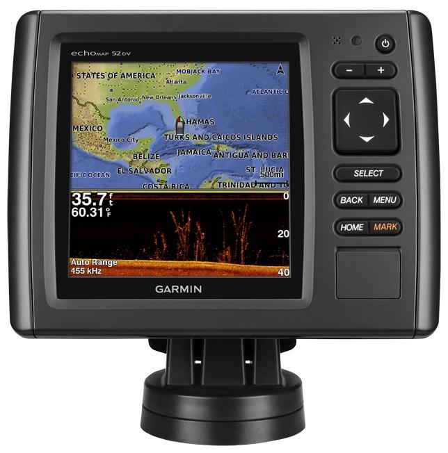 Эхолот-картплоттер Garmin echoMAP CHIRP 52dvЭхолот-картплоттер Garmin EchoMap 52 dv<br><br><br>Высококонтрастный цветной дисплей с клавиатурой и поддержкой карт BlueChart® g2<br><br>Встроенный сканирующий сонар DownV? с четкими изображениями толщи воды1<br><br>Встроенный сонар 500 Вт (RMS) HD-ID™ (4,000 Вт максимум)<br><br>Внутренний GPS-приемник обновляет местоположение и направление движения с частотой 5 раз в секунду<br><br>Быстросъемное поворотное/наклонное крепление<br><br>Вес кг: 0.80000000