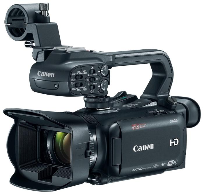 Видеокамера Canon XA35 ProfКомпактная многофункциональная видеокамера XA35 имеет широкий динамический диапазон и разъем HD/SD-SDI, что отвечает всем требованиям профессиональной мобильной журналистики и корреспондентов, которым необходимо выполнять съемку незаметно, особенно в сложных условиях высококонтрастного освещения.<br><br>Широкоугольный объектив 26,8 мм?, f/1.8–2.8, с 20x зумом, системой интеллектуальной оптической стабилизации изображения по 5 осям и режимом Dynamic IS<br>1/2,84-дюймовый датчик HD CMOS Pro с улучшенной чувствительностью для повышения качества съемки в условиях слабого освещения и более низкого уровня шума<br>Режим Wide DR (600%) и режим приоритета светов? позволяют сохранить детали в светах и тенях для получения более естественных изображений<br>Выход HD/SD-SDI — прекрасное решение для профессионального вещания<br>Запись в двух форматах: Full HD AVCHD (28 Мбит/с) или MP4 (35 Мбит/с) на 2 карты памяти SD<br>Съемная рукоятка с разъемами XLR для профессионального подключения и встроенной ИК-лампой<br>Сенсорный экран OLED с диагональю 8,77 см (3,5) для высокого разрешения, контрастности и точной цветопередачи<br>Электронный видоискатель с разрешением 1,56 млн точек и углом наклона 45° для гибких возможностей съемки<br>Ускоренная и замедленная съемки (от x2 до x1200) с функцией интервальной съемки в режиме MP4<br>Встроенный двухполосный Wi-Fi для дистанционного управления, передачи/загрузки файлов и предварительного просмотра в браузере<br><br>Вес кг: 0.77000000