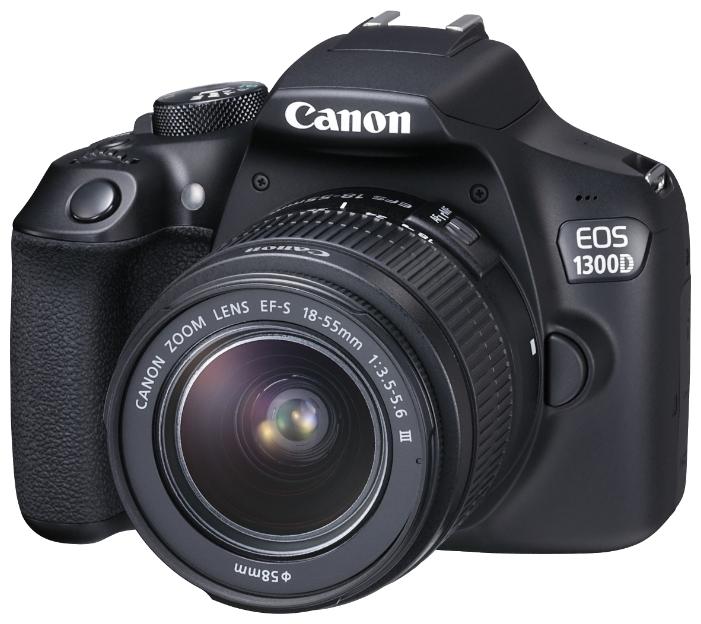 Фотоаппарат Canon EOS 1300D Kit 18-55 DC iii Зеркальный18,0-мегапиксельная камера EOS 1300D позволяет легко получать отличные фотографии и видео Full HD в кинематографическом качестве. Мгновенная отправка фотографий и видео с помощью Wi-Fi и простое подключение к мобильному устройству по NFC<br><br>Создавайте превосходные изображения с высокой детализацией благодаря большому 18-мегапиксельному датчику изображения размера APS-C. Распечатывайте изображения даже в формате A2 или креативно обрезайте их без потери качества<br><br>Снимайте великолепные фотографии без вспышки даже при слабом освещении, чтобы передать истинную атмосферу сцены. Диапазон чувствительности EOS 1300D составляет ISO 100–6400 (с возможностью увеличения до ISO 12800), что позволяет добиться естественного отображения на каждом снимке.<br><br>Снимайте потрясающие портреты, используя малую глубину резкости, которая характерна для съемки цифровой зеркальной камерой и позволяет создавать эффектные фотографии, выделяя объект съемки на красиво размытом заднем плане.<br><br>Создавайте изображения с высокой детализацией и точной передачей цвета и контрастности благодаря возможностям процессора DIGIC 4+<br><br>Поэкспериментируйте с творческими фильтрами, такими как «Игрушечная камера» и «Миниатюра», которые помогут добавить снимкам новое настроение и дополнительный оригинальный эффект<br><br>Снимайте видео Full HD в превосходном кинематографическом качестве с высочайшей детализацией благодаря управлению глубиной резкости, которое позволяет выделить объект на переднем плане и создать красивое размытие заднего плана<br><br>Создавайте отличные снимки и не беспокойтесь о настройках, позволив интеллектуальному сценарному режиму выполнить всю работу за вас; а когда будете готовы — возьмите управление настройками камеры полностью или частично на себя.<br><br>Вы никогда не упустите решающий момент благодаря быстрой и точной автофокусировке и скорости съемки 3 кадра/сек. при полном разрешении. Идеально подходит для п