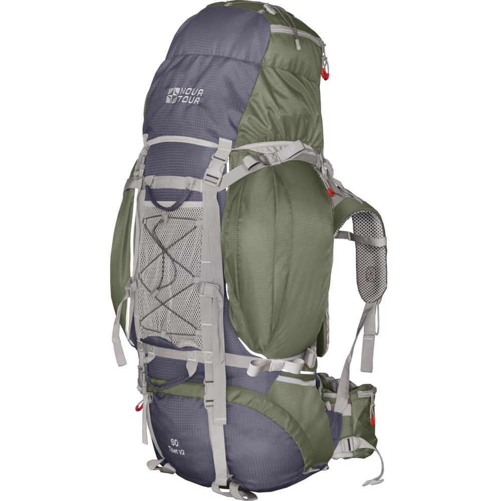 Рюкзак Nova Tour Тибет 80 v2 серый/зеленыйПрочный рюкзак большого объема для классического туризма. Вы можете не ограничивать себя в количестве вещей, ведь этот рюкзак с двумя вместительными карманами на молнии, сетчатыми карманами для фляги и мелочей по обеим бокам рюкзака, а также объемным клапаном. Ваша спина не устанет во время длительных переходов с удобной подвесной системой, разработанной специально для переноски тяжелых грузов. Дождевик, теплый или сменная обувь будут всегда под рукой с сетчатым карманом спереди и эластичной шнуровкой на клапане рюкзака. Удобство при погрузке рюкзака в транспорт обеспечивают три усиленных ручки. Если в пути застанет дождь или снег не беда! В специальном кармане на дне рюкзака упакован непромокаемый гермочехол. На концах боковых стяжек имеются липучки для закрепления излишков стропы.<br>