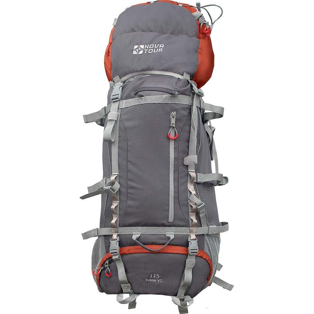Рюкзак Nova Tour Юкон 115 v2 серый/терракотовыйУниверсальный рюкзак для горного туризма. Вам будет очень удобно двигаться по пересеченной местности с новой облегченной подвесной системой ABS2, равномерно распределяющей вес на плечи и пояс и уменьшающей нагрузку на позвоночник. Для большего удобства крепления горного инвентаря разработана новая система навески. Если вам нужно что-то достать со дна рюкзака воспользуйтесь удобным нижним входом. Вам некуда положить карту чтобы она не помялась? В рюкзаке Юкон имеется специальный карман для карты и документов на передней части рюкзака. В горах погода переменчива, может внезапно пойти дождь, но ваши вещи всегда будут оставаться сухими благодаря гермочехлу, расположенному в специальном кармане в дне рюкзака. На концах боковых стяжек имеются липучки для закрепления излишков стропы.<br><br>Вес кг: 2.40000000