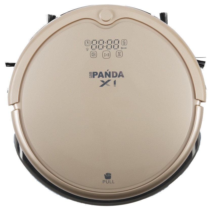 Робот-пылесос PANDA X1 GoldРобот-пылесос Panda X1 – доработанная модель PANDA x900, второй робот-пылесос в линейке, оснащенный полноценной функцией влажной уборки. В пылесосе имеется специальный контейнер для жидкости, через который она подается на моющее полотно. Одной заправки хватает в среднем на площадь 70-80 кв.м. В контейнер можно также заливать чистящие средства- это усилит эффект свежести в помещении после уборки.<br><br>Робот пылесос Panda X1 это модель 2017 года из линейки роботов пылесосов японского производителя Panda. Данная модель обладает лучшей в линейке PANDA системой ориентирования в пространстве, а также обладает ультра-фиолетовой лампой, которая способствует обеззараживанию помещений.<br><br>Купить робот пылесос Панда Panda X1 – это тоже самое, что приобрести бестселлер на рынке пылесосов. Характеристики данной модели ничем не уступают последним брэндовым новинками из линеек irobot, Samsung и LG, а по некоторым показателям и превосходят их.<br><br>Panda X1 предназначен для сухой и влажной уборки сложных многокомнатных помещений площадью до 145 кв. м.<br><br><br>Идеально чистит кафель, линолеум, ламинат, паркет, деревянные полы, ковры и ковровые покрытия.<br><br>Новейшая Ультрафиолетовая лампа, позволяет нейтрализовать вредные микробы, пылевых клещей и болезнетворные микроорганизмы (до 98%)!<br><br>Не сталкивается с мебелью и не бьется о стены и двери.<br><br>Аккумулятор повышенной емкости позволяет устройству производить уборку длительностью до 120 минут на одном заряде батареи.<br><br>Измененная конструкция колес и отсутствие центральных щеток способствуют более легкому перемещению робота через пороги и иные препятствия высотой до 2,5 см, а также позволяют работать на коврах с удлиненным ворсом (2-4 см).<br><br><br>Новый Panda X1 отличает ультрасовременный дизайн с сенсорной панелью управления на корпусе робота-пылесоса и декоративной подсветкой. Во время работы устройства сенсорные кнопки на корпусе подсвечиваются, сигнализируя о режимах и сост