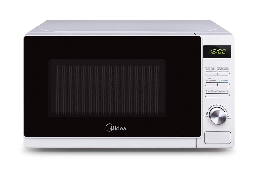 Микроволновая печь с грилем Midea AG720C4E-WЭлегантная микроволновая печь Midea AG720C4E-W объемом 20 литров гармонично впишется в интерьер любой современной кухни. Печь идеально подходит для быстрого и качественного приготовления свежих и замороженных овощей и фруктов, супов, каш, макаронных изделий и риса, мяса и рыбы, а также бережного и эффективного размораживания продуктов и разогрева готовых блюд. Все, кто заботится о своем здоровье, оценит новые возможности, которые дает данная модель: помимо равномерного и быстрого прогревания, продукты приобретают аппетитную корочку и сохраняют все полезные свойства и витамины. Кварцевый гриль для придания поджаристой корочки запеченному мясу, рыбе, овощам и горячим бутербродам обеспечивает условия приготовления пищи подобные обжариванию на углях или сковороде. Гриль можно применять в комбинации с микроволнами при двух уровнях мощности. Камера печи покрыта инновационной разработкой компании Midea - эмалью легкой очистки Smart Clean (Смарт Клин), которая состоит из специального жаропрочного материала, не пропускающего внутрь запекшийся жир и остатки пищи. Поэтому очищать печь можно значительно быстрее и легче! Модель оснащена 8 режимами автоприготовления, позволяющими вам готовить любимые блюда, просто выбрав тип продуктов и введя их вес. Функция размораживания предназначена для разморозки продуктов согласно их массе – время и уровень мощности корректируются автоматически, как только вы выберете категорию продукта и введете его вес. Панель управления на русском языке и светодиодный (LED) дисплей помогут быстро и легко приготовить любимые блюда! Также предусмотрен режим разморозки по времени. 5 уровней мощности позволят выбрать оптимальный режим для наиболее качественного приготовления того или иного блюда. Удобный тактовый тип управления, таймер на 95 минут со звуковым сигналом и функция защиты от включения при открытой дверце, а также защитная блокировка кнопок, делают микроволновую печь Midea AG720C4E-W комфортной и безопа