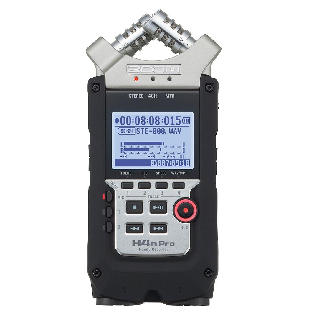 Рекордер Zoom H4n ProH4n Pro – это не просто улучшенная версия старой модели, она превосходит своего предшественника H4nSP во всех отношениях. Продвинутые X/Y-микрофоны, невероятно естественные предусилители, а также сверхнизкий шумовой порог позволят вам записывать запись любого типа: от гоночных соревнований до едва слышного пения птиц. Это абсолютно новый стандарт полевой аудиозаписи.<br><br>H4n Pro оснащен необходимым набором функций, которые делают его идеальным выбором для записи звука для вашего кинопроекта. Встроенные X/Y-микрофоны позволяют качественно захватывать окружающее звучание, а благодаря двум совмещенным входам вы также сможете подключить к H4n Pro свои собственные микрофоны. Рекордер также оснащен выходом Line/Headphone, с помощью которого легко подключиться к камере и подавать на нее высококачественное аудио с микрофона.<br><br>Pro-модель идеально подойдет для записи живых выступлений. H4n PRO выдерживает громкость вплоть до 140 дБ SPL, благодаря чему он справится к любой задачей, начиная от разрывающего голову тяжелого металла и заканчивая глубокими басами музыки в стиле EDM. Записывая выступления на H4n Pro, вы можете объединить линейный сигнал* с вашего микшерного пульта вместе с окружающим звуком концертного зала.<br><br><br>Одновременная запись с четырех дорожек;<br><br>Высококачественные микрофонные предусилители;<br><br>Встроенные X/Y стерео микрофоны с регулируемым углом в 90 или 120 градусов;<br><br>Запись до 140 dB SPL с X/Y микрофонов;<br><br>Два микрофонных/линейных входа с комбо-коннекторами XLR/TRS;<br><br>1/8-дюймовый стерео вход для микрофона;<br><br>+24 или +48В фантомного питания для основных входов, Plug-in питание (2,5В) для микрофонного/линейного входа;<br><br>Выход для наушников с независимым регулятором громкости;<br><br>Обновленный прорезиненный и эргономичный корпус с улучшенным 1.9-дюймовым LCD-дисплеем с подсветкой;<br><br>Встроенный динамик для быстрого воспроизведения записей;<br><br>Запись на SD и SDHC-карты объемом 