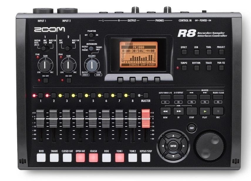 """Портастудия Zoom R8Zoom R8 – 8-трековый рекордер, аудио интерфейс, контроллер, сэмплер. R8 – это и 8-трековый проигрыватель, и 2-трековый рекордер. Он иделаьно подходит для записи живых выступлений, репетиций и даже звука для видео. R8 воспроизводит до восьми дорожек в формате WAV (24 бит/ 48 кГц). Имеются функции UNDO/REDO для отмены последней выполненной операции и возврата к последней сохранённой версии записи. Также можно делать миксы из уже записанных песен, сохраняя каждый в отдельном проекте.<br><br>Аудио интерфейс имеет 2 входа и 2 выхода. При подключении к компьютеру посредством USB, R8 становится довольно мощным аудио интерфейсом. Для создания треков можно использовать программное обеспечение Cubase LE, которое входит в комплект. Поддерживается высококачественное 24-бит/96кГц кодирование. При использовании частоты 44,1 кГц доступен встроенный процессор эффектов.<br><br>Помимо управления основными функциями DAW (цифровой рабочей станции), в Zoom R8 также доступно микширование и транспорт-контроль. Zoom R8 оптимален для использования с Cubase, Logic, Sonar и другими секвенсорами. R8 превращает процесс создания треков в удовольствие.<br><br>Zoom R8 также представляет собой 8-голосный сэмплер с 8-ю пэдами. Предусмотрена игра """"в реальном времени"""", а также запись с удобной волнообразной визуализацией лупов (""""петель""""). Есть возможность изменения темпа без обрезки незаконченных лупов. Функции сэмплера и рекордера могут использоваться одновременно. В комплект входит карта памяти SD объёмом 2 Гб, на которой уже содержится 500 Мб барабанных лупов от Big Fish Audio. Коллекция примеров ударных партий, при выстраивании их в последовательность, может быть использована для создания профессионально-звучащих ритм-партий.<br><br>Более 140 эффектов и 370 пресетов могут быть использованы для записи, микширования и сведения конечного трека. Пакет эффектов содержит 7 модулей и включает ряд алгоритмов для гитар, баса, вокала и не только.<br><br>Вес кг: 1.00000000"""